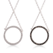 Reversible Halo White Lab & Black Diamond Circle Pendant Necklace