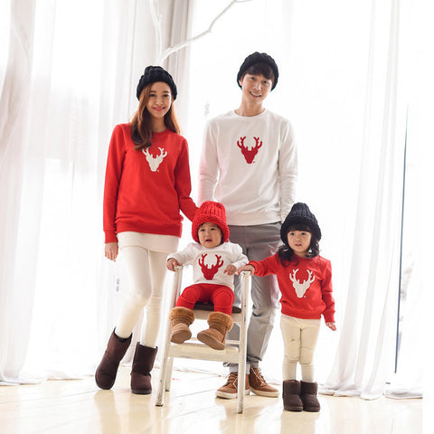 Family Matching Red and White Deer Shirts