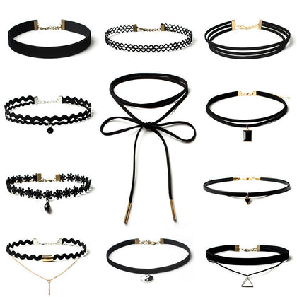 11 Pieces Choker Necklace Set Stretch Velvet and Lace Chokers