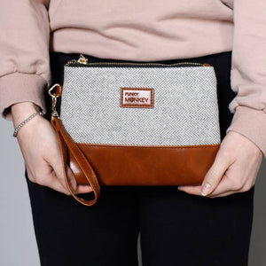 Grey Herringbone Medium Wristlet - Inward Beauty Boutique