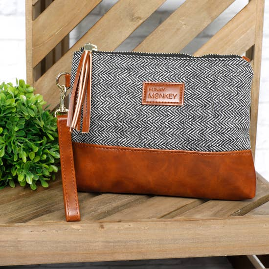 Charcoal Herringbone Medium Wristlet - Inward Beauty Boutique