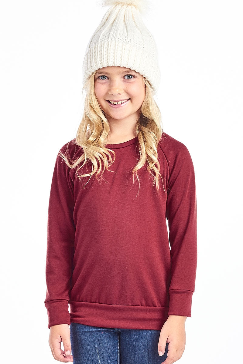 Long Sleeve Pullover-Burgundy (Girls) - Inward Beauty Boutique