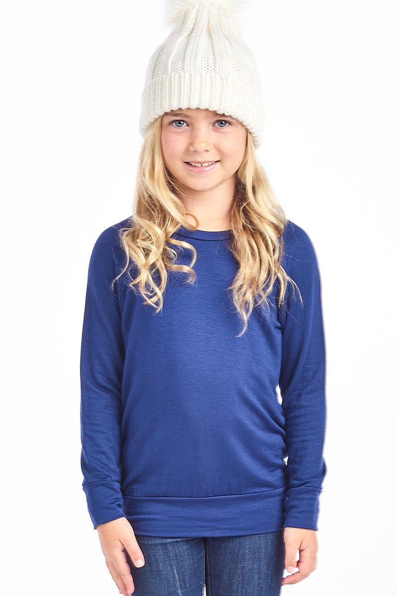 Long Sleeve Pullover-Navy (Girls) - Inward Beauty Boutique