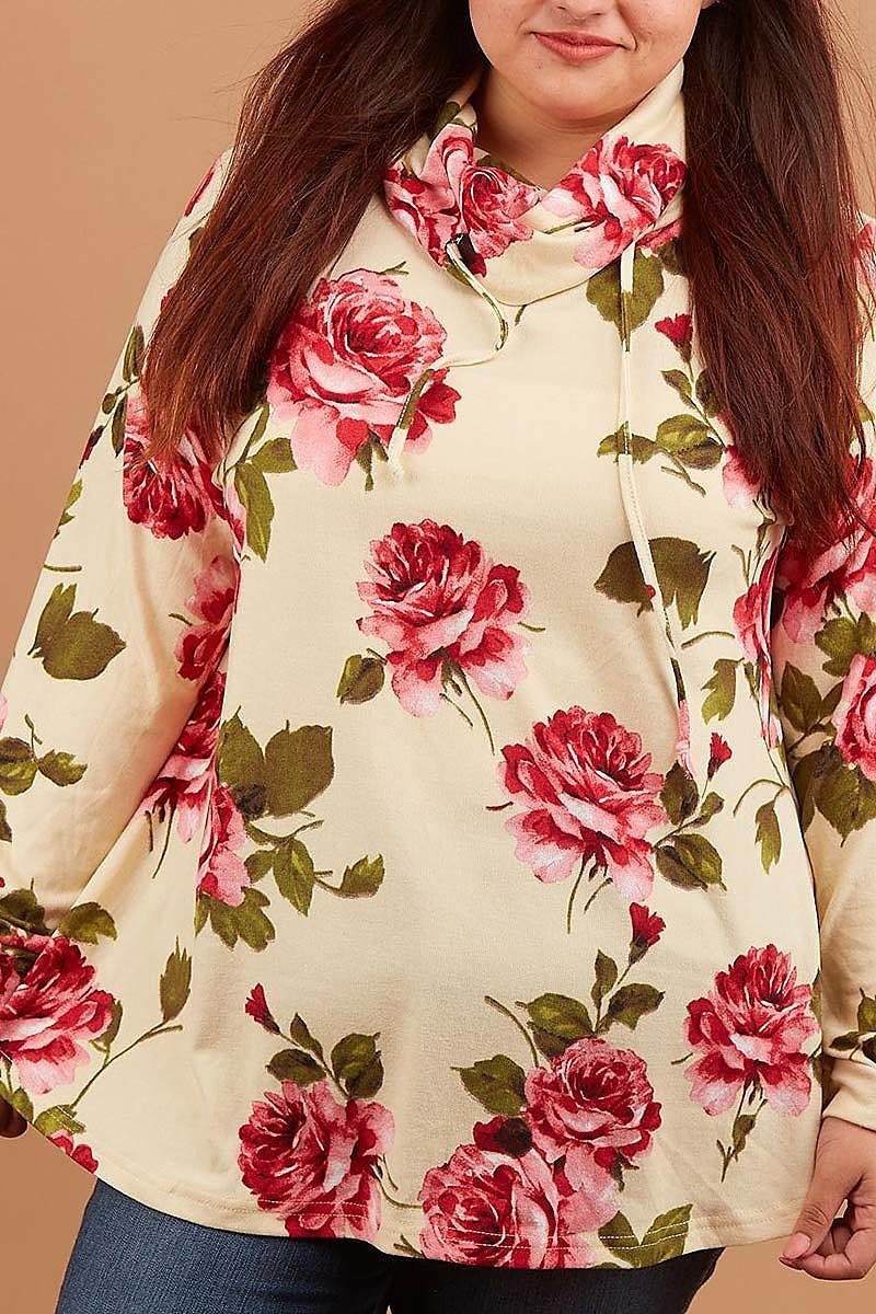 Floral Cowl Neck Top (Curvy) - Inward Beauty Boutique