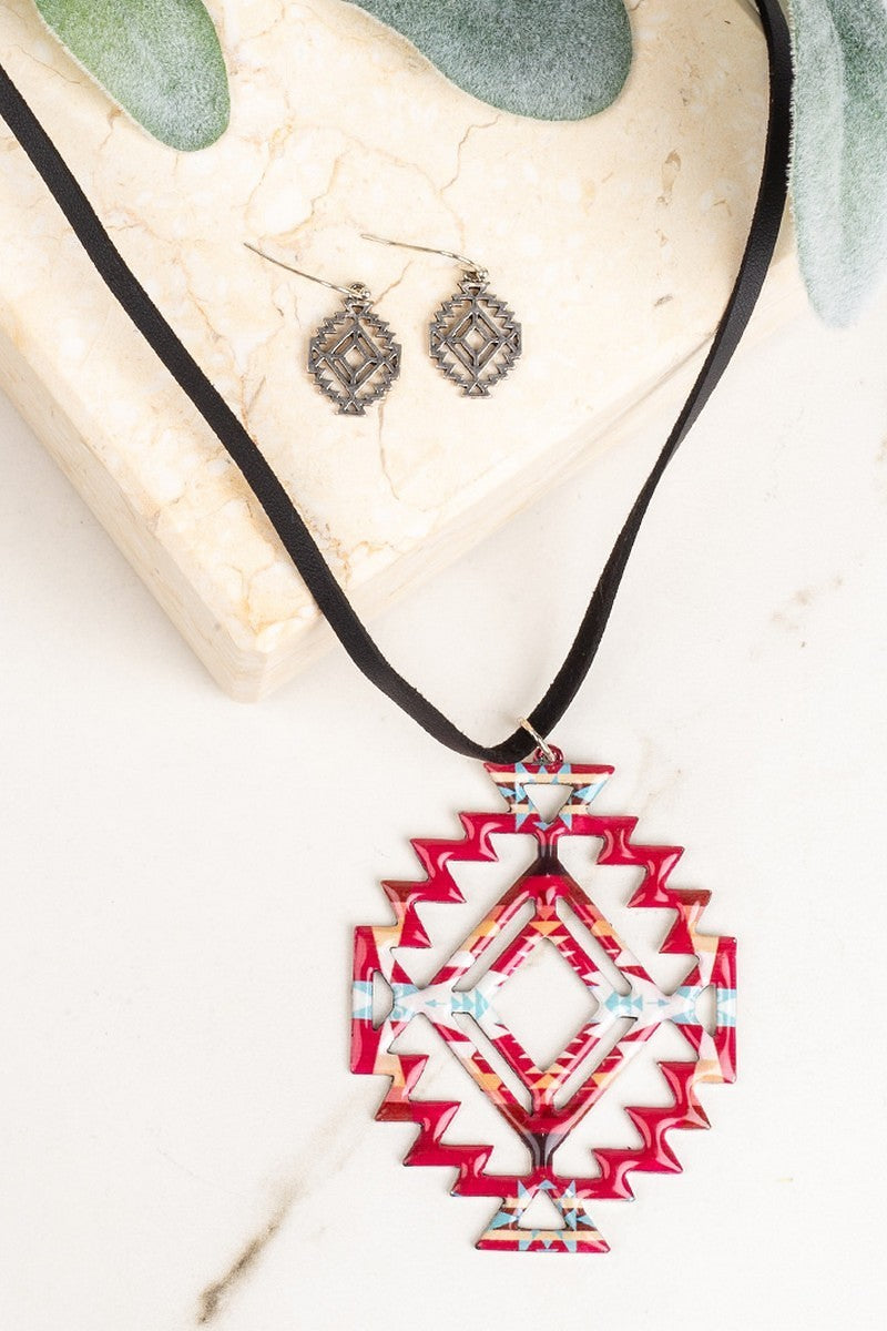 Red Western Cutout Necklace - Inward Beauty Boutique