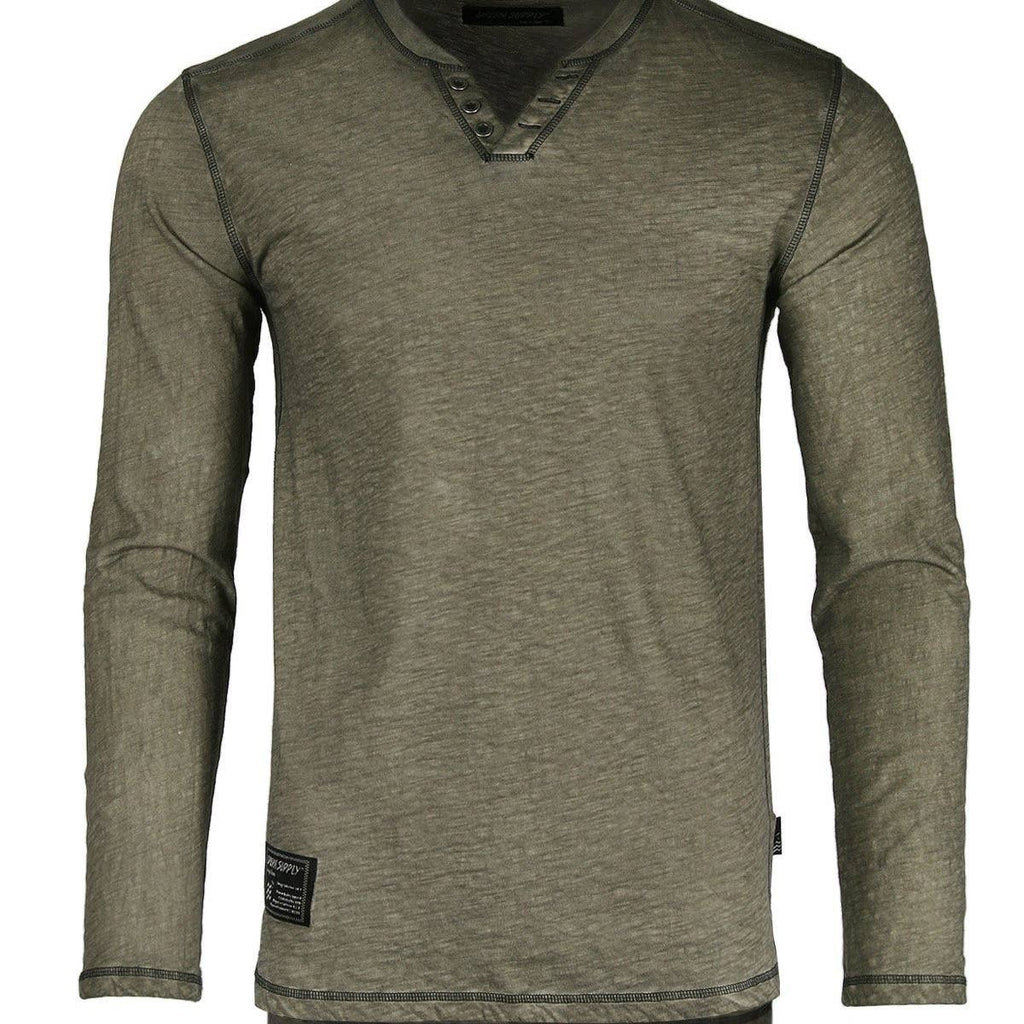 Olive V Neck Henley - Inward Beauty Boutique