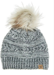 Grey Ripped Cheveron Beanie - Inward Beauty Boutique
