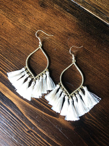 Tribal Tassel Trim Earrings - Inward Beauty Boutique