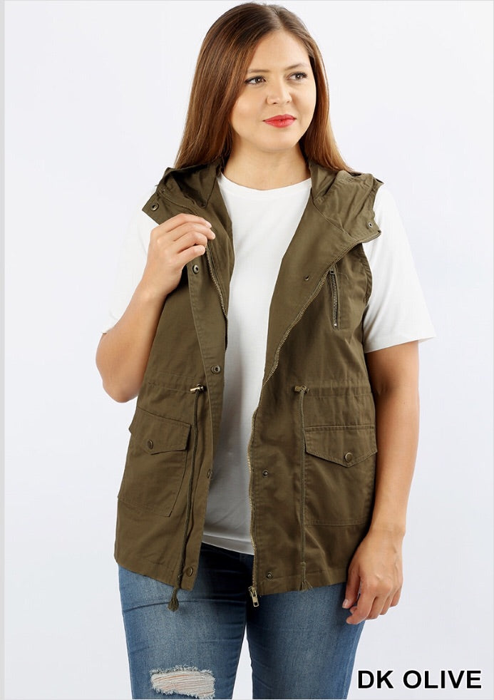 Olive Vest (Curvy) - Inward Beauty Boutique