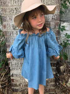 Denim Off Shoulder Top  {Girls} - Inward Beauty Boutique