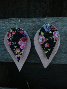 Layered Floral Leather Earrings - Inward Beauty Boutique