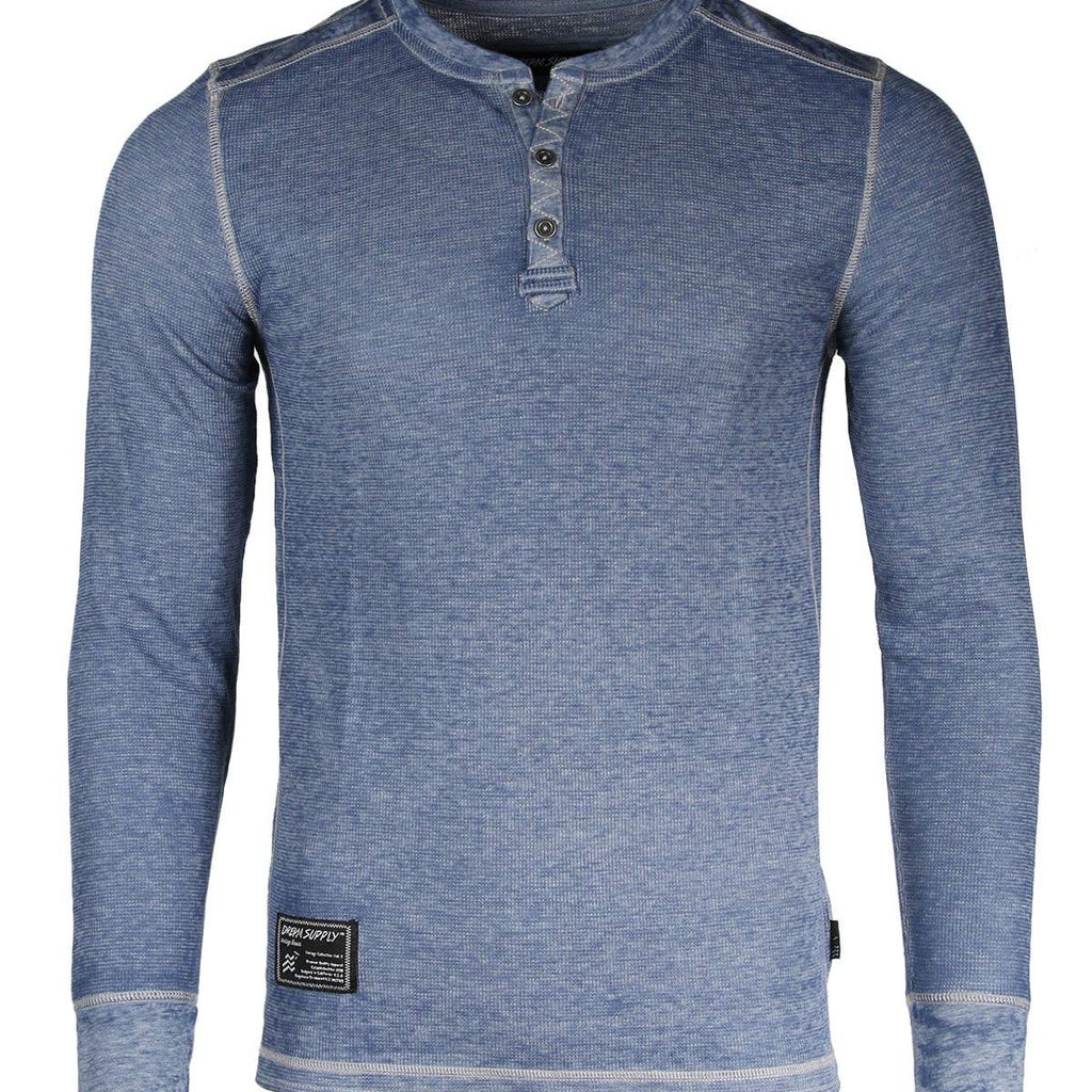 Blue V neck Henley - Inward Beauty Boutique