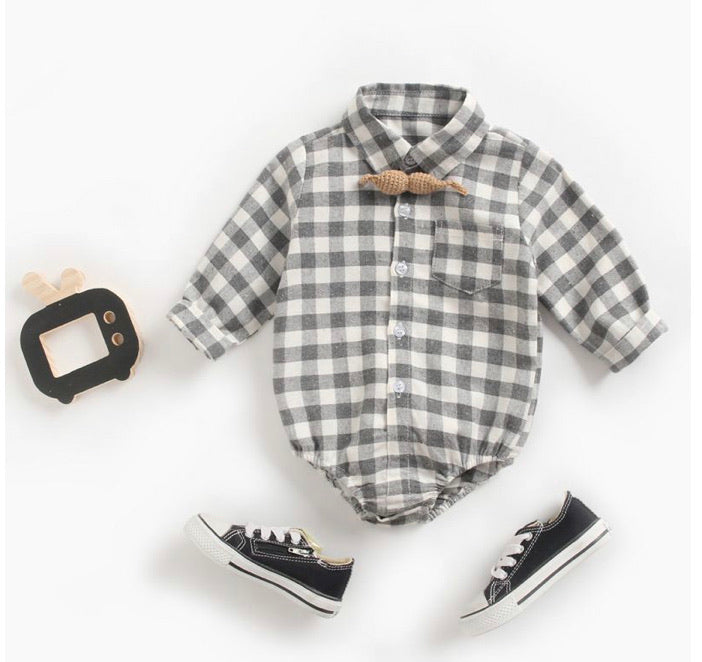 Grey Plaid Onsie - Inward Beauty Boutique