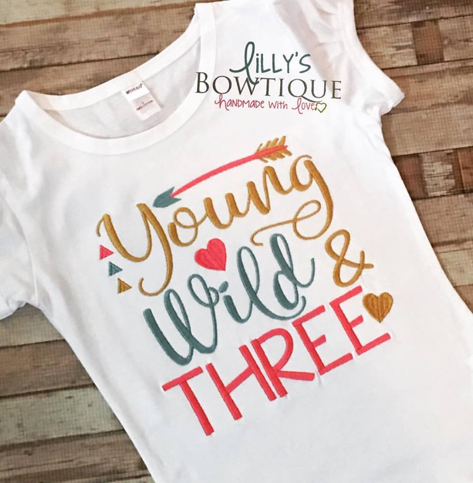 Young Wild and Three Embroidered Girls Tee