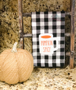 Rae Dunn Inspired Pumpkin Spice embroidered Dish Towel