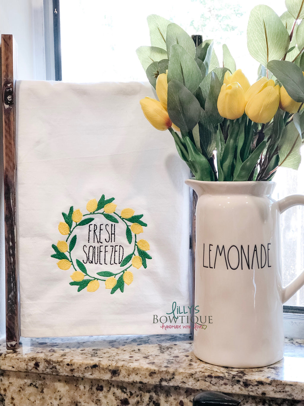 Rae Dunn Stitched Lemon Dish Towel