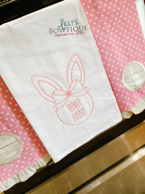 Embroidered Hunny Bunny Linen Dish Towel