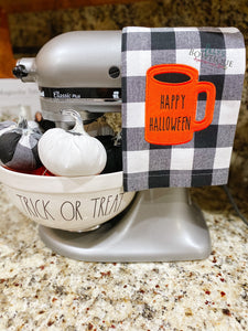 Embroidered Happy Halloween Dunn Inspired Dish Towel