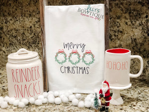 Merry Christmas Embroidered Dish Towel
