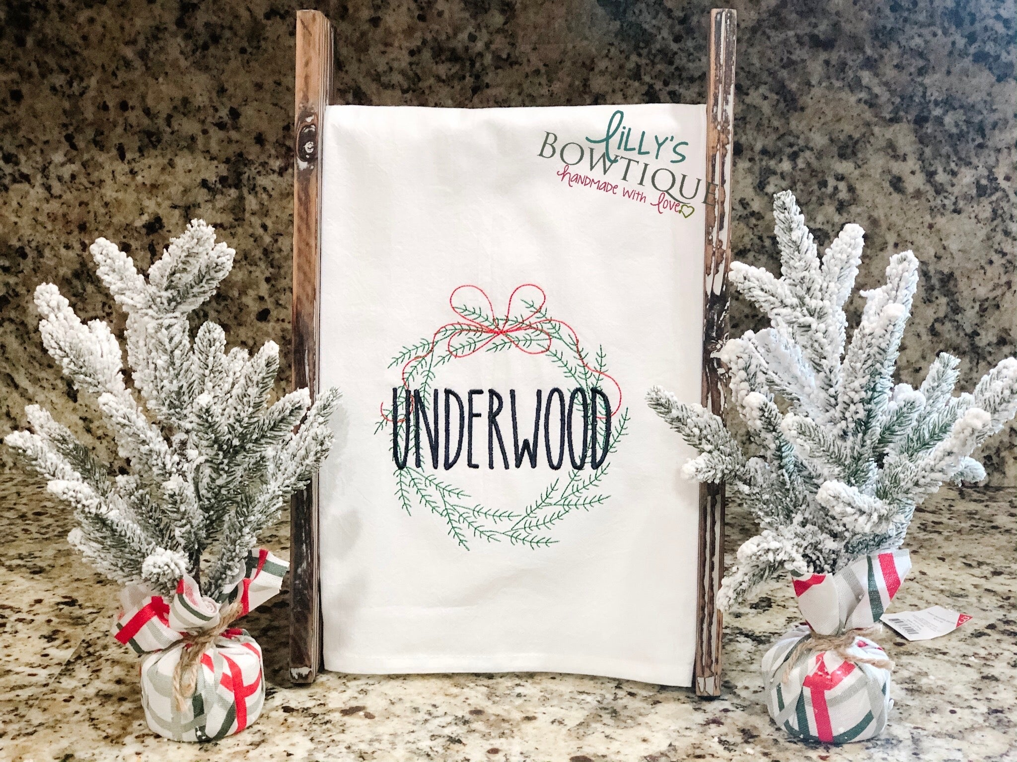 Personalized Holiday Wreath Embroidered Dish Towel