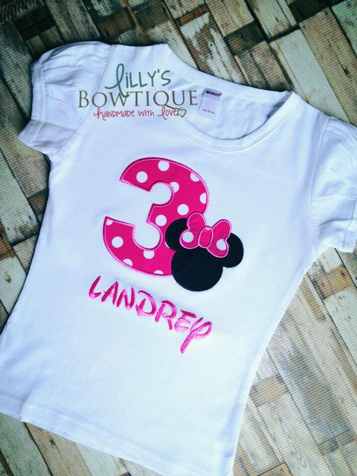 Embroidered Minnie Inspired Birthday Shirt