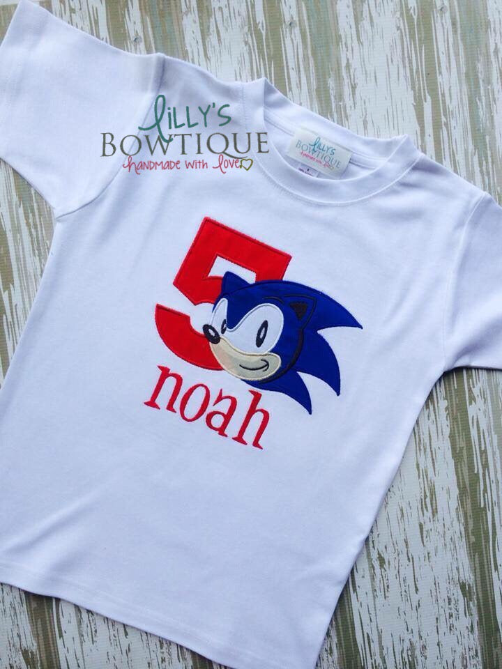 Sonic Inspired Embroidered Birthday Shirt