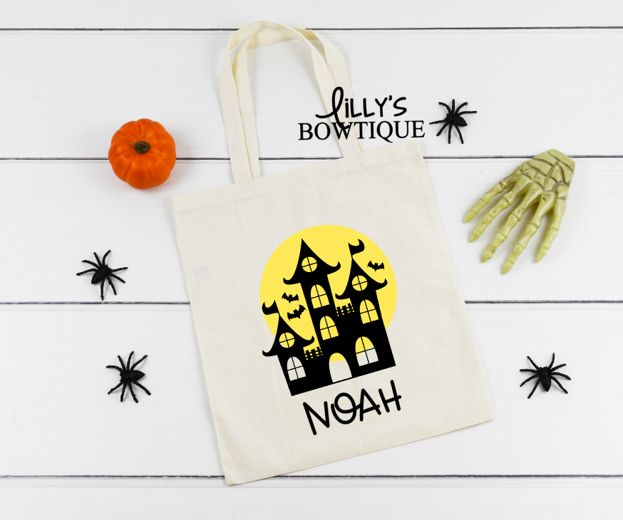 Haunted House Canvas Tote
