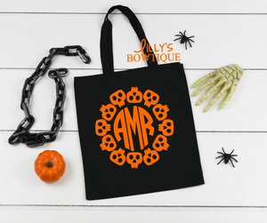Skull Monogram Canvas Tote