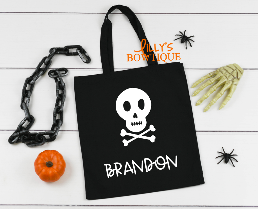 Personalized Skull Canvas Tote