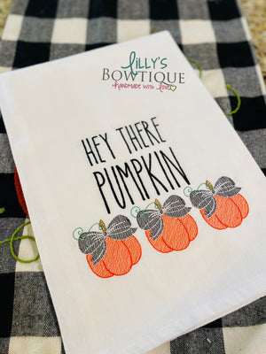 Embroidered Hey There Pumpkin Dish Towel