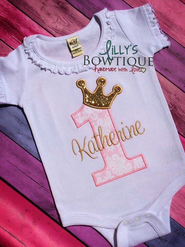 Pink and Gold First Birthday Princess onesie