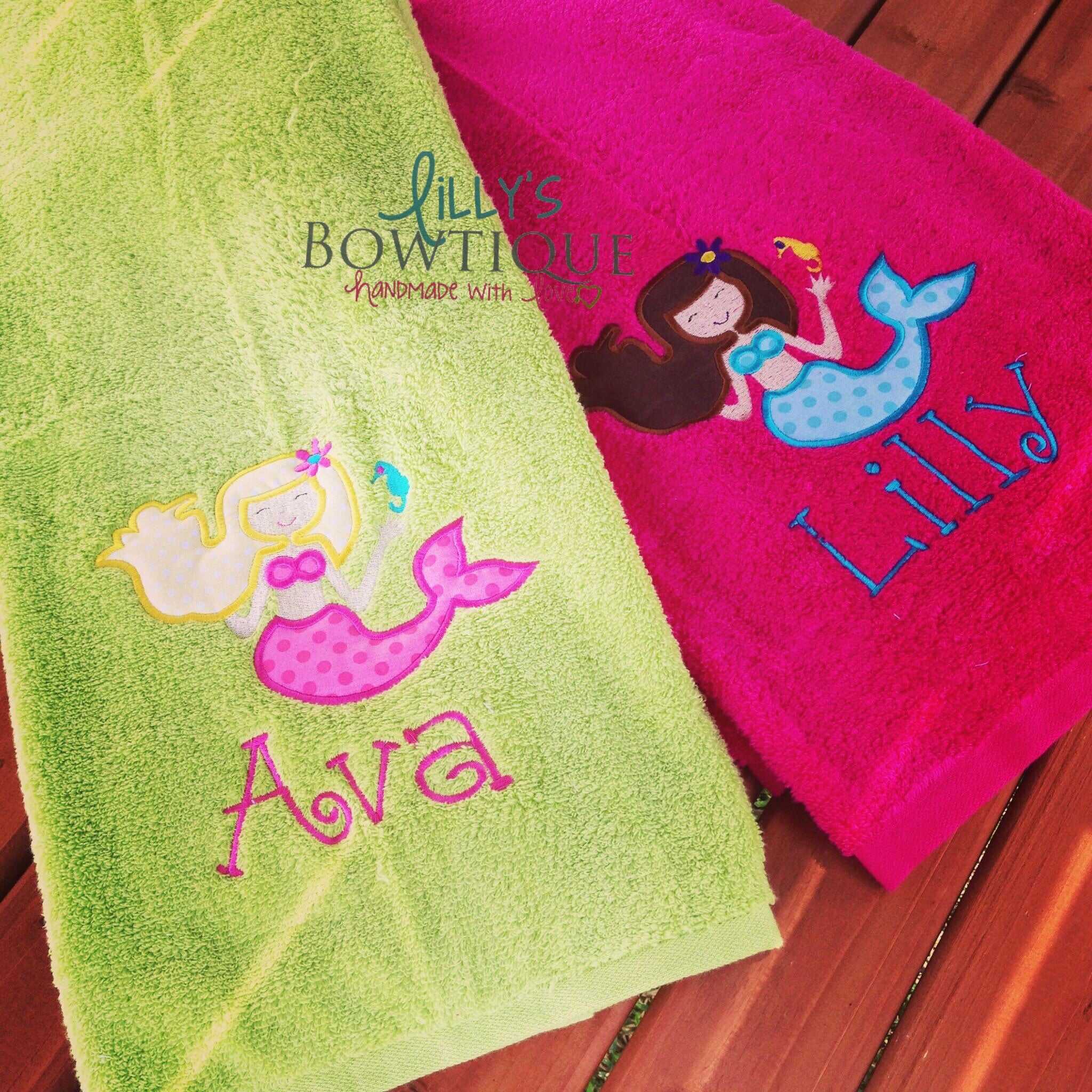 Personalized Embroidered Mermaid Towel