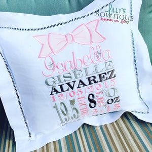 Embroidered Custom Birth Announcement Pillow