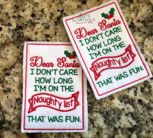 Embroidered Dear Santa Elf Letter