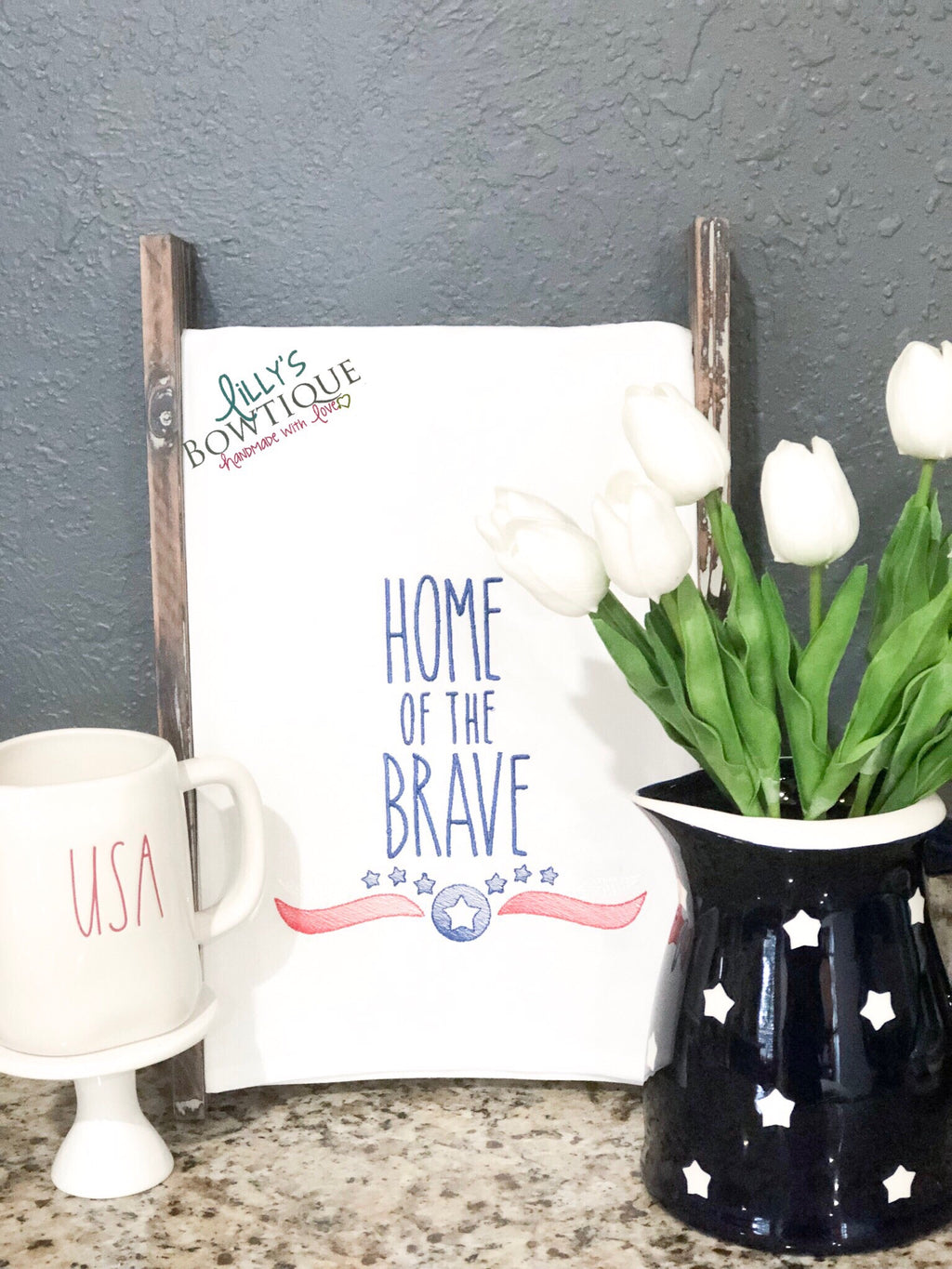 Embroidered Home Of The Brave Dish Towel