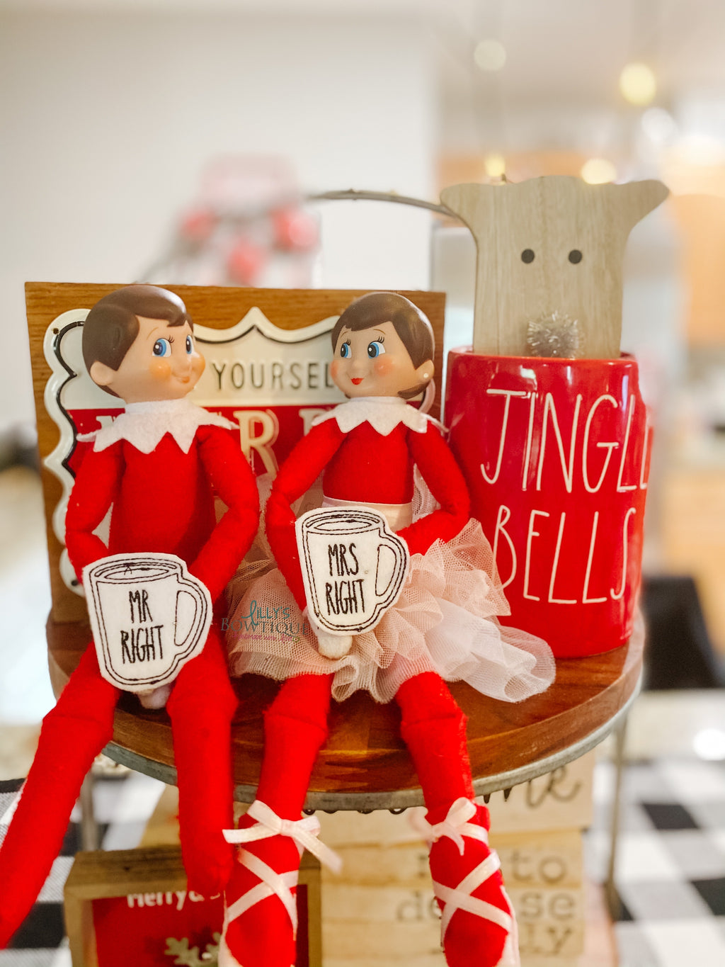Elf Embroidered Mr. and Mrs. Right Mugs