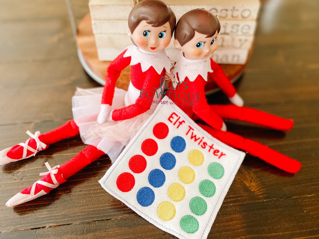 Embroidered Elf Twister Game