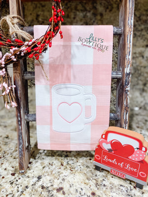 Embroidered Heart Mug Dish Towel