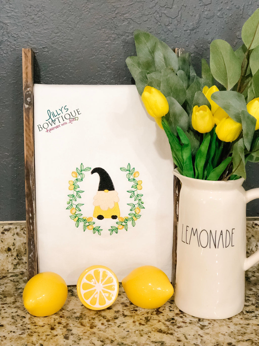 Lemon Gnome Embroidered Dish Towel