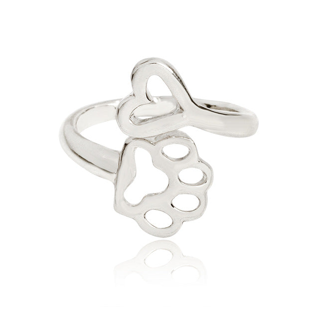 Heart & Paw Print Ring
