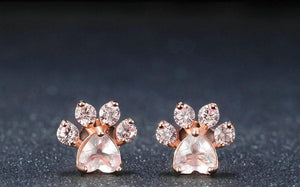 Rose Quartz Paw Ear Rings