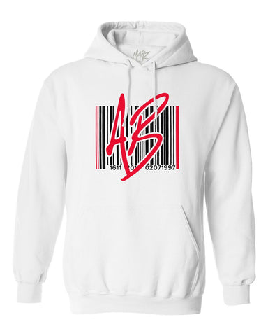 AB Barcode Red White Hoodie