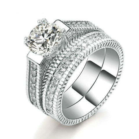 Silver Color Luxury 2 Rounds Wedding Ring