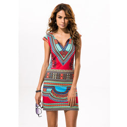 Short V-neck African Dresses Dashiki Traditional