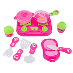 11Pcs / set Cooking Food Dishes Cookware Pretend & Play Kitchen Playset Kids toys House Kitchen Toys