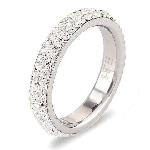 Three row clear crystal Stainless steel ring