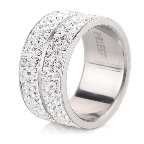 Stainless Steel 6 Row Crystal Wedding Ring