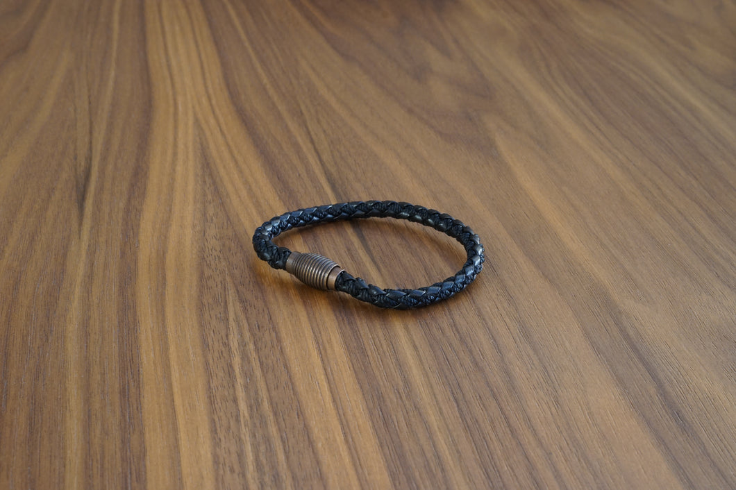 Davido Afnani Leather Bracelet Black Brass