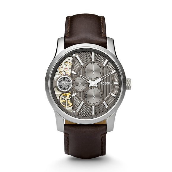Fossil ME1098 Twist Silver Taupe Skeleton Dial Dark Brown Leather