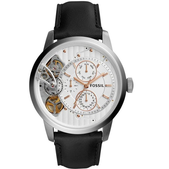 Fossil ME1164 Townsman Twist Silver Rose Gold Accents Black Leather